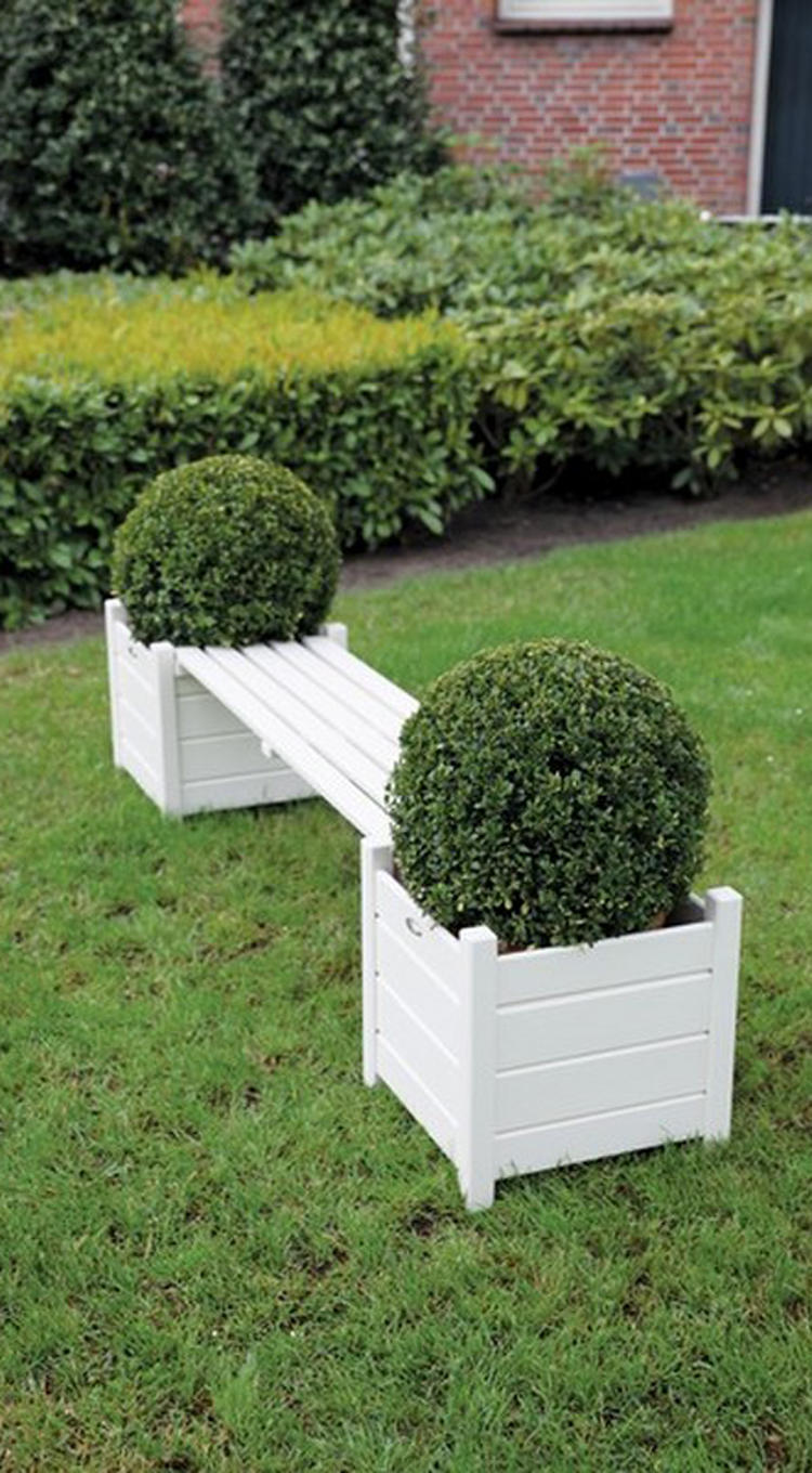 Wooden Bench With 2 Planters In Grey Or White