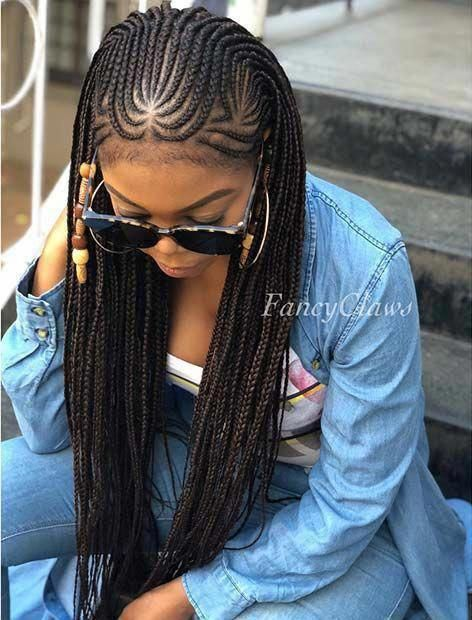 Haircut Catalog For Long Hair   Different Updo Hairstyles   Mid Hair Updo 20190506 - May 06 2019 at 05:04PM #boxbraidshaircut # fulani Braids with curls # fulani Braids with curls