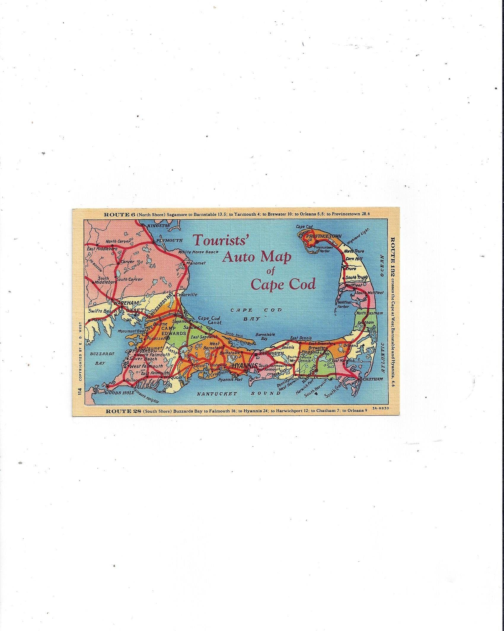 1940s Linen Postcard of Tourists/' Auto Map of Cape Cod Massachusetts Routes 6 Unposted 132 FREE USA Ship 28 Travel Souvenir