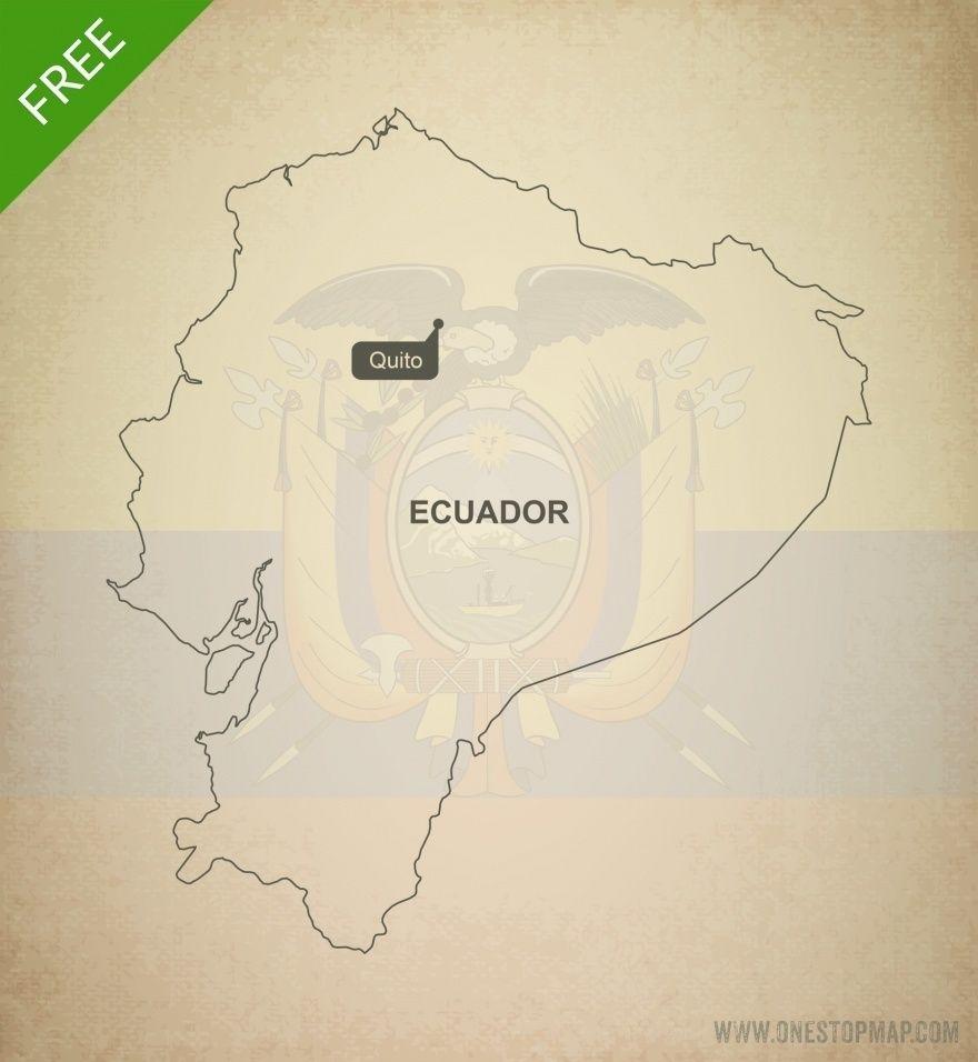 Free Vector Map Of Ecuador Outline Ecuador Adobe Illustrator - World map blank illustrator
