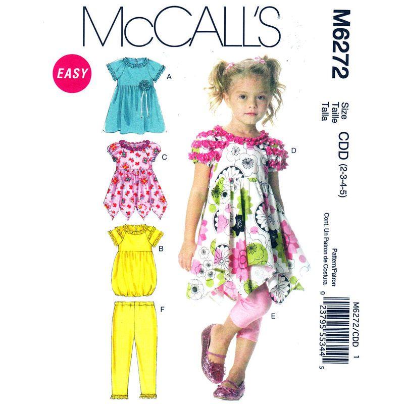 Girls Boho Dress and Leggings Pattern McCalls 6272 Shaped Hem ...