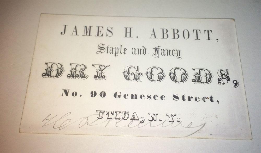 Rare Antique Victorian American James Abbott Fancy Goods! Utica, NY! Trade Card! #JamesHAbbottFancyGoods