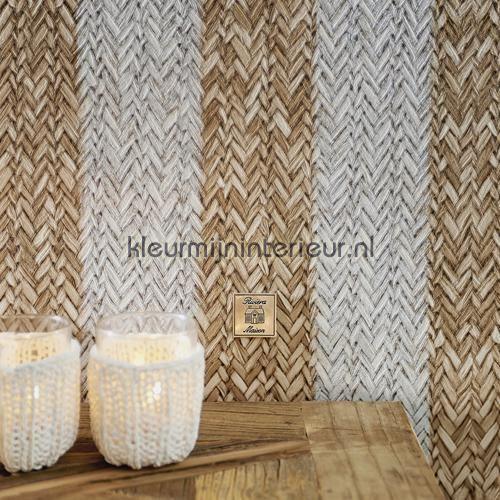 Geweven rattan bruin wit behang 18310 Landelijk - Cottage BN ...