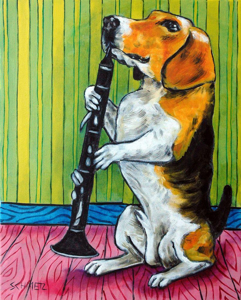 Beagle dog clarinet  art print 4x6 animals impressionism gift new