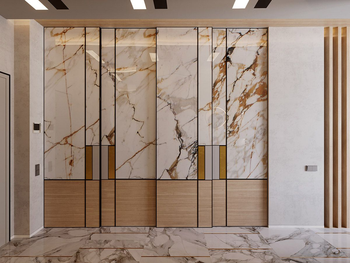 Interior Design Using Marble And Wood Combinations Wardrobe