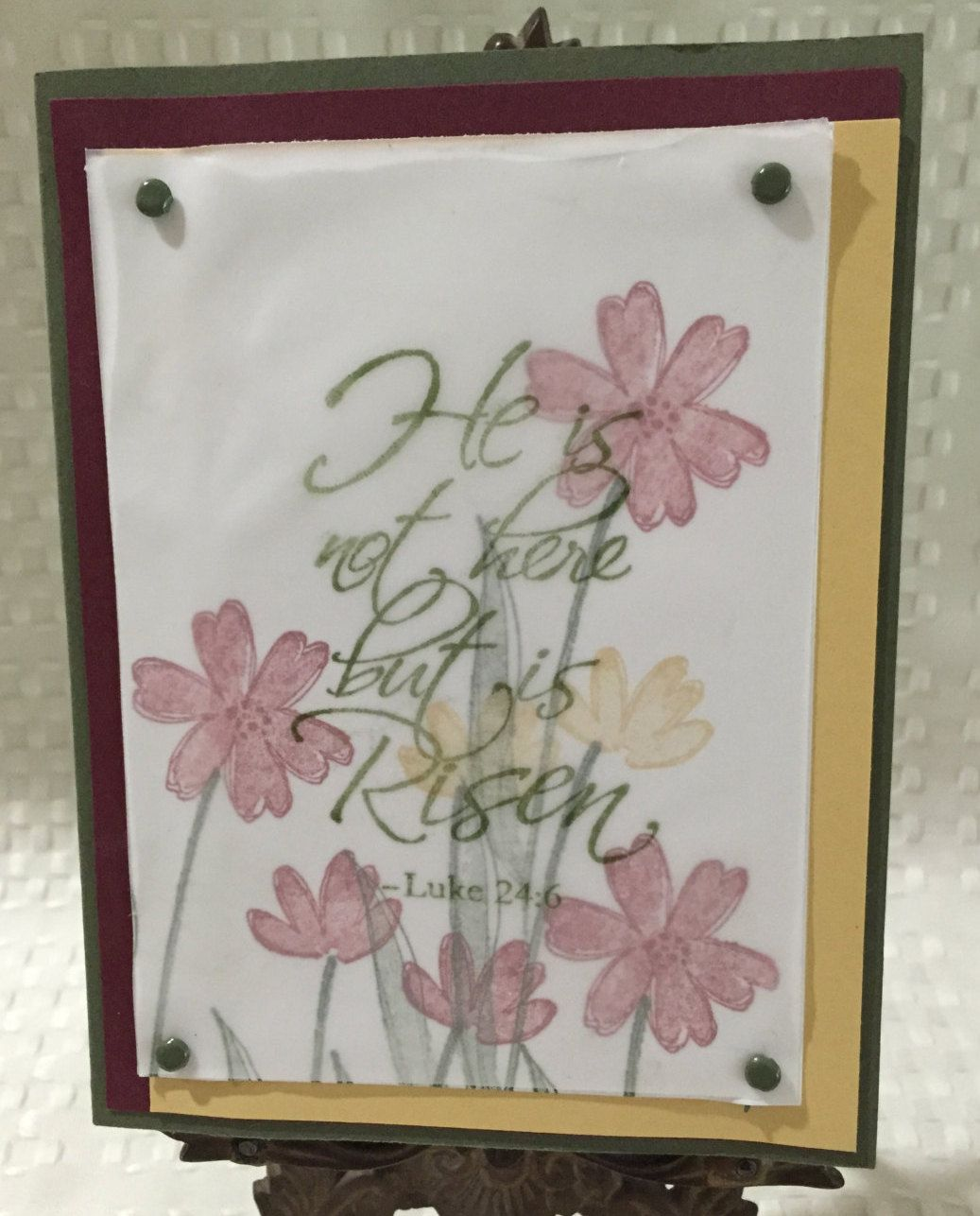 "Scripture Easter Card ""He is not here but is Risen"" by CraftyCardandWreaths on Etsy"