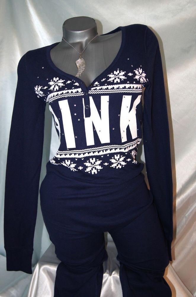 Mvictorias Secret Pink Thermal Long Jane Onesie Pajama Bling Pjs