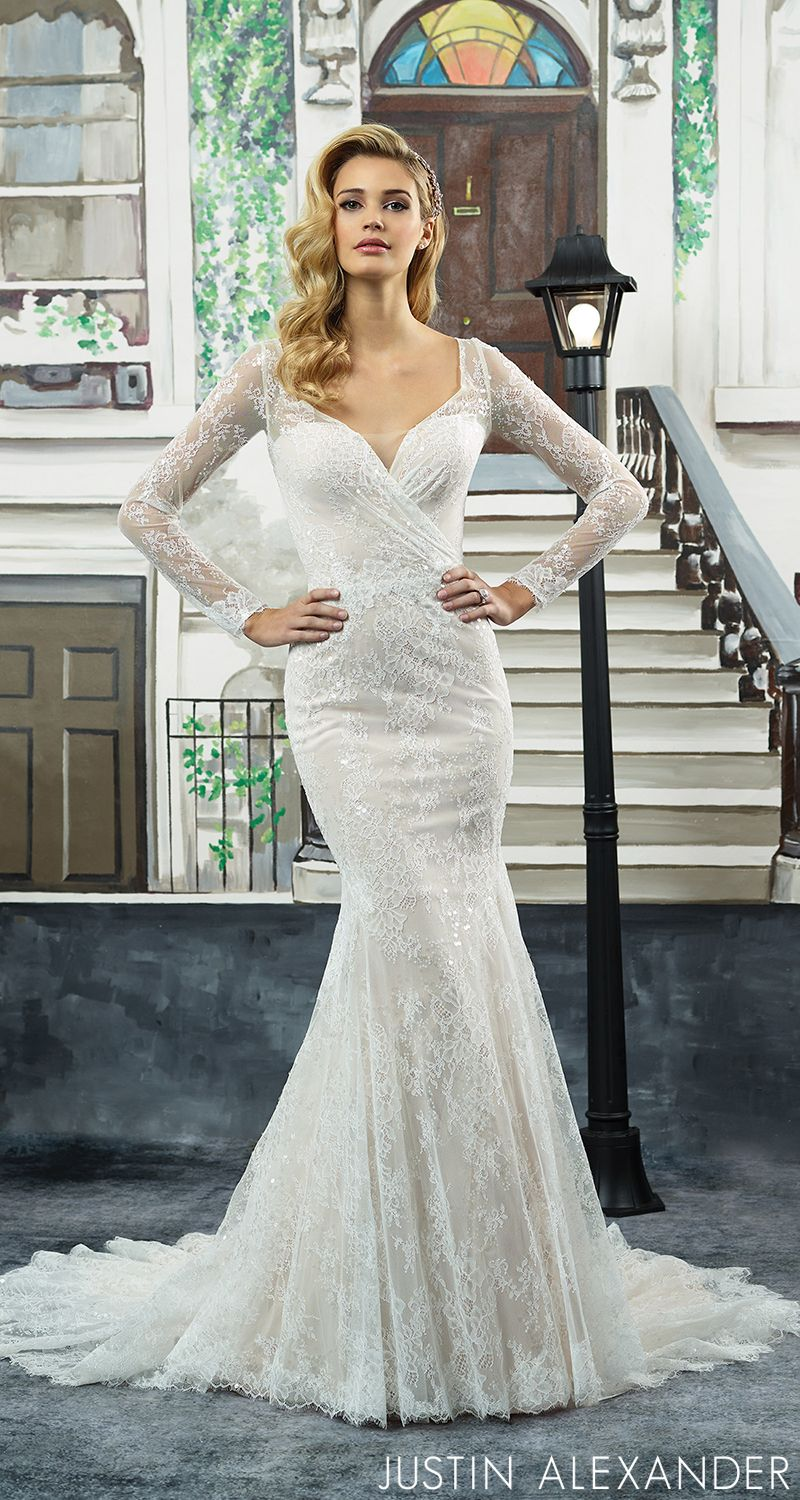 Long sleeved lace wedding dress  Style  Chantilly lace long sleeve fit and flare silhouette