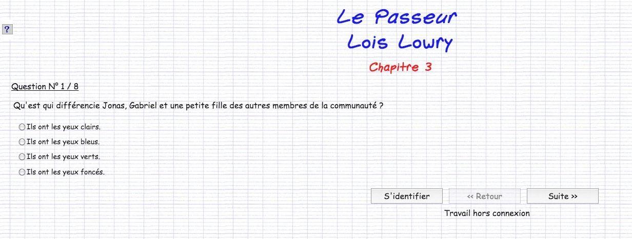 Quiz Chapitre Par Chapitre Sur Le Passeur De Lowry Le Passeur Lois Lowry Quiz Le Passeur