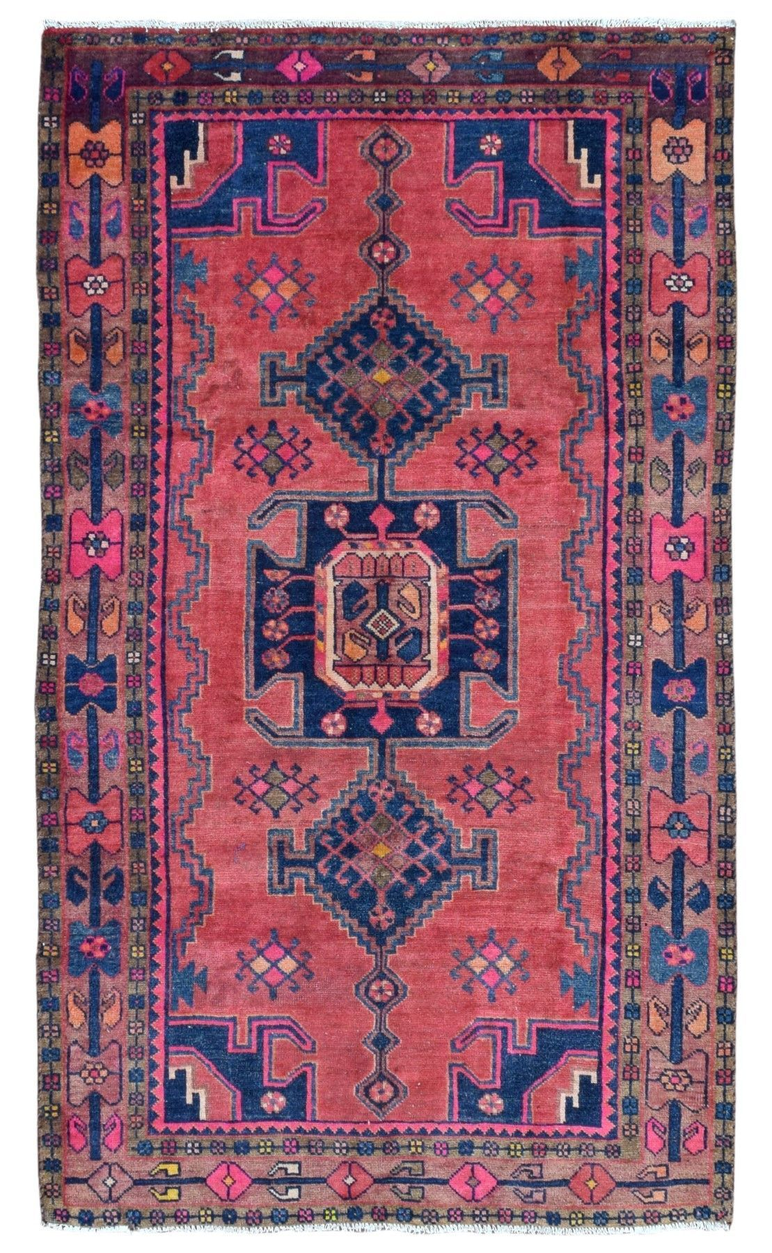 Design Hamadan Size 4 6x7 10 Color Pink Blue Multi Colored Knot Technique Blue Persian Rug Oriental Runner Rug Rug Runner