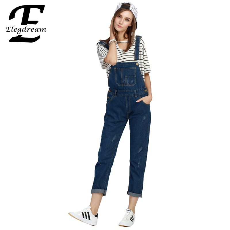 b8bc418a1 Elegdream Loose Straight Straps Boyfriend Denim Overalls Women Slim ...