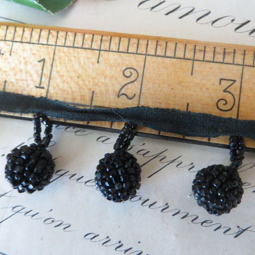 1pc ANTIQUE BLACK JET GLASS BEAD BOBBLE TRIM Button French antique Applique Vtg