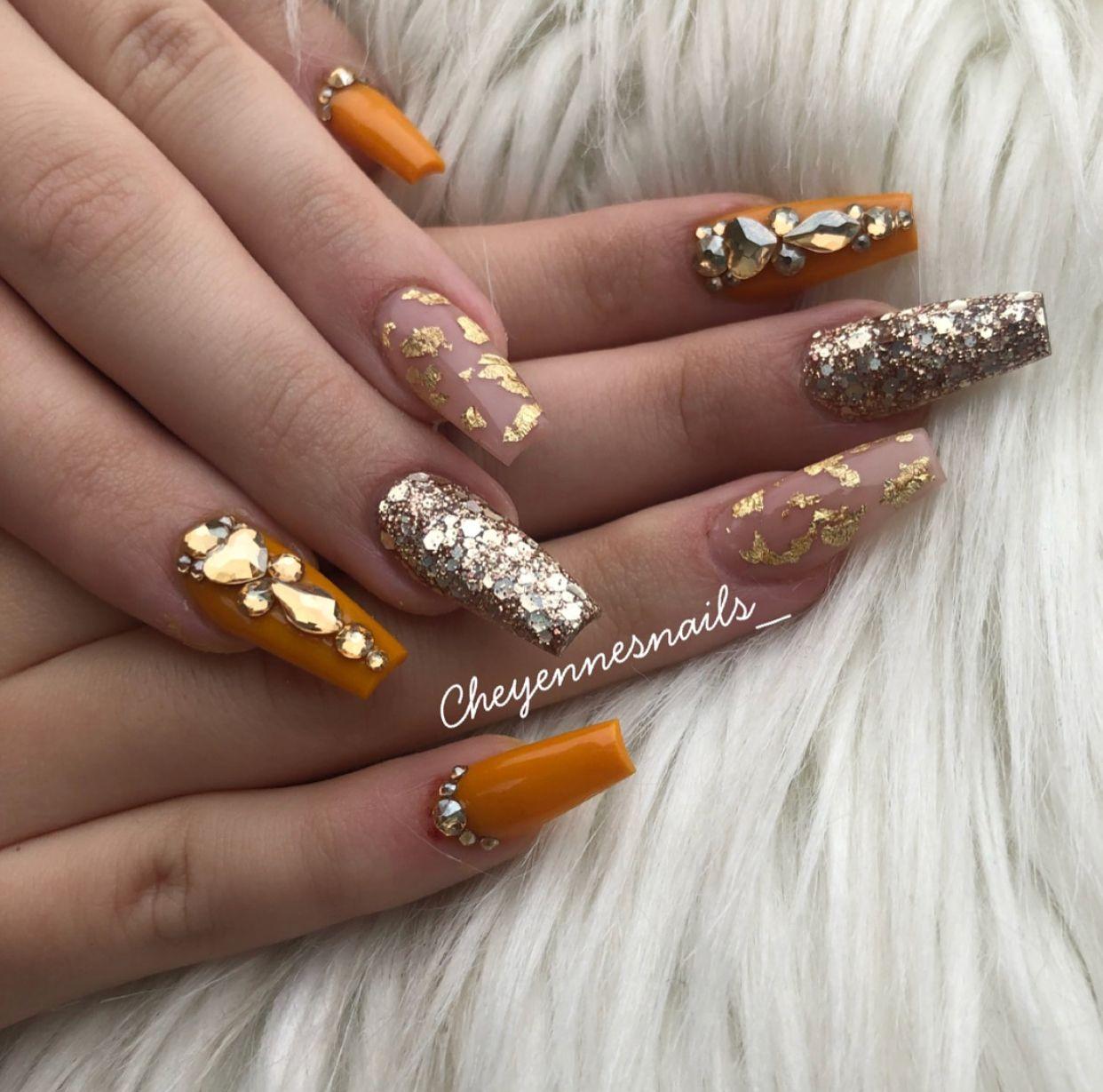 Pinterest Itsmealicea Fall Acrylic Nails Metallic Nails Design Nails