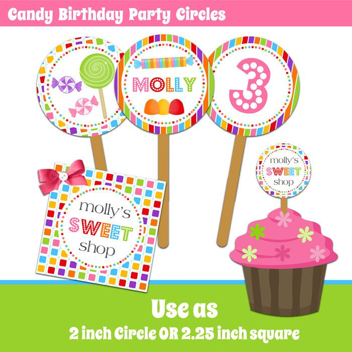 Candy Birthday Party Circles - Cupcake Toppers - Stickers - Printable. $9.00, via Etsy.
