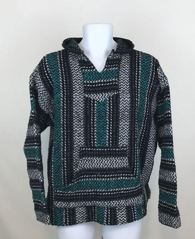 5c14c8555 Baja Joe Mens M Mexican Threads Rasta Hoodie Surfer Poncho Pullover Black  Teal #BajaJoe #HoodedSweatshirt