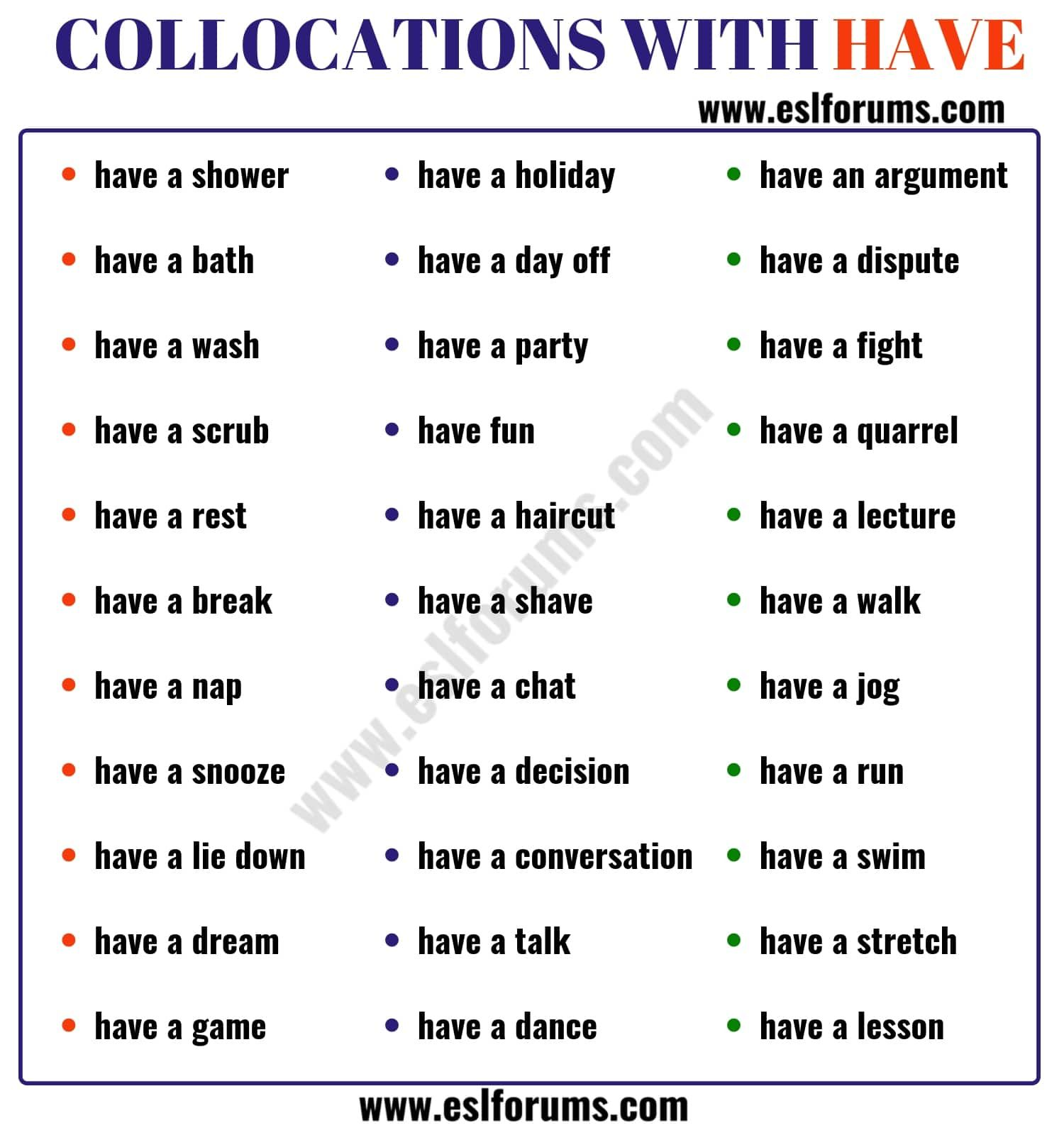 42 Common Collocations With The Verb Have Esl Forums English Writing Skills Learn English English Lessons [ 1600 x 1500 Pixel ]