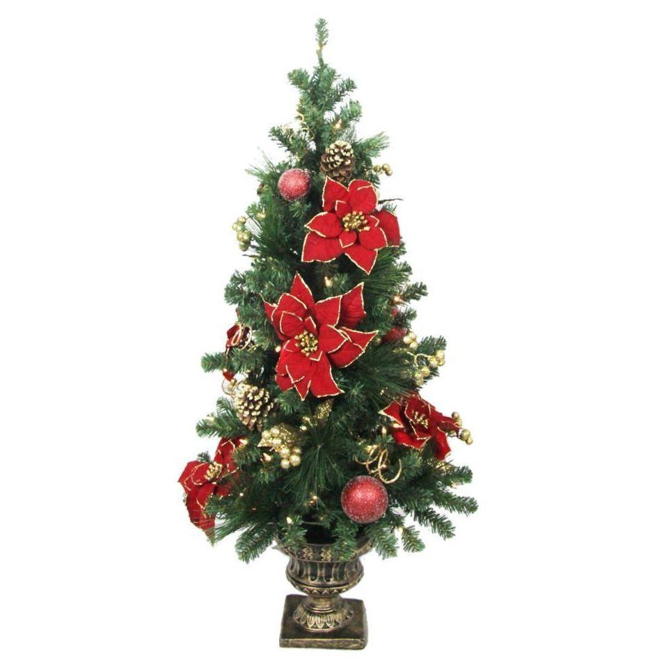 Small Christmas Tree Pre-Lit Artificial Potted Indoor Outdoor ...