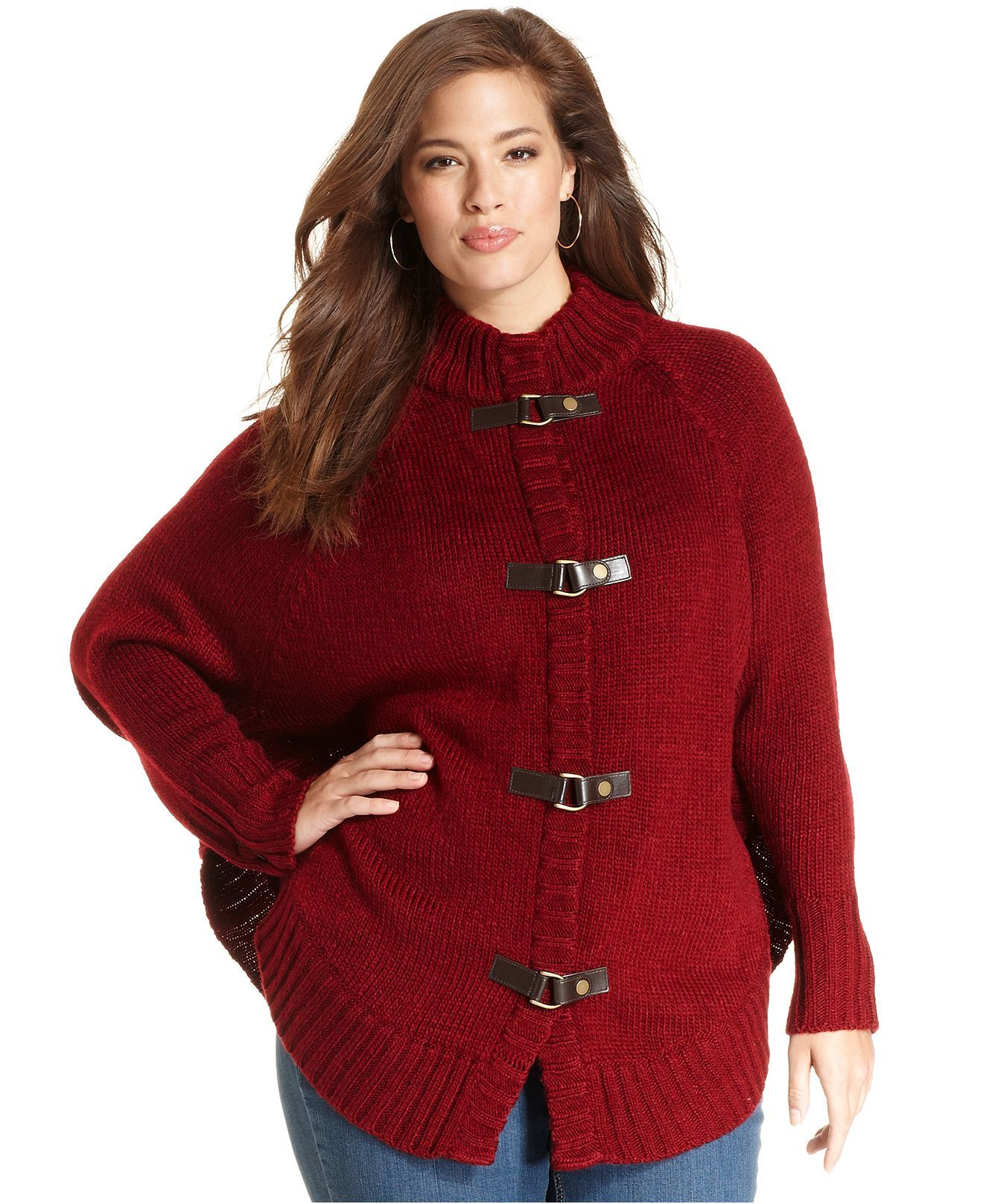 Jones New York Signature Plus Size Sweater, Long-Sleeve Poncho, In Red - Macy's
