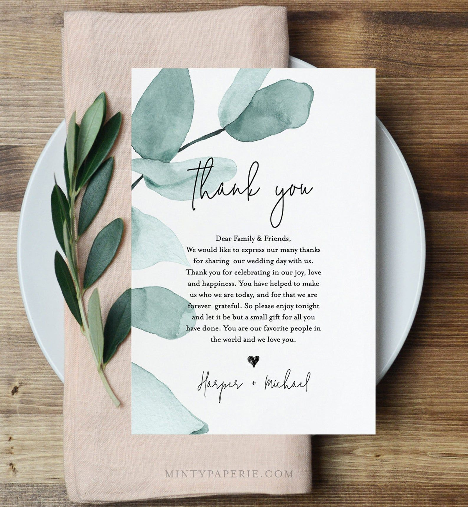 INSTANT DOWNLOAD Wedding Reception Thank You Note Card Printable Wedding Thank You Letter Rustic Foliage Thank You Letter Template