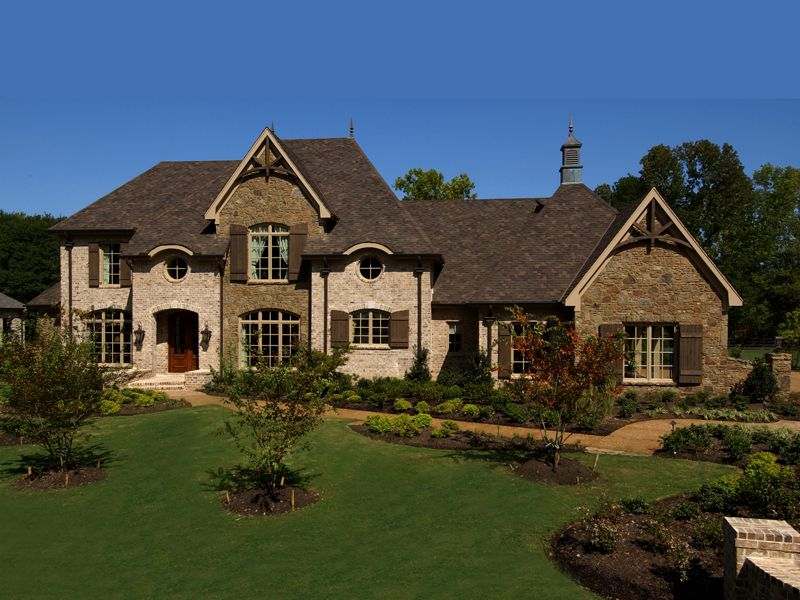 darby hill european style home plan front house and