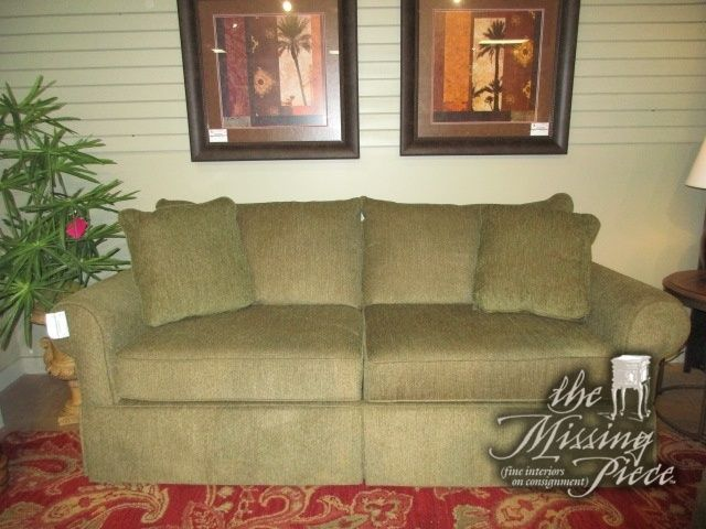 Broyhill Traditional Style Two Seat Sofa In An Olive Green