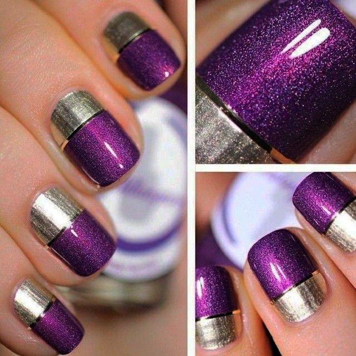Nail design nails design nail art gel nails silver purple nail design nails design nail art gel nails silver purple minimalist shiny glitter prinsesfo Gallery