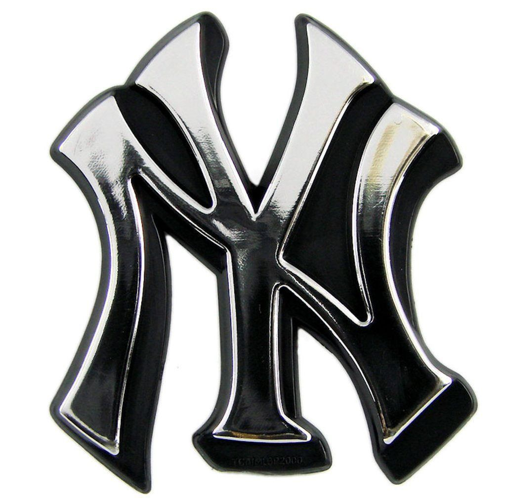 New York Yankees Auto Emblem Silver New York Yankees Logo Yankees Logo Car Emblem
