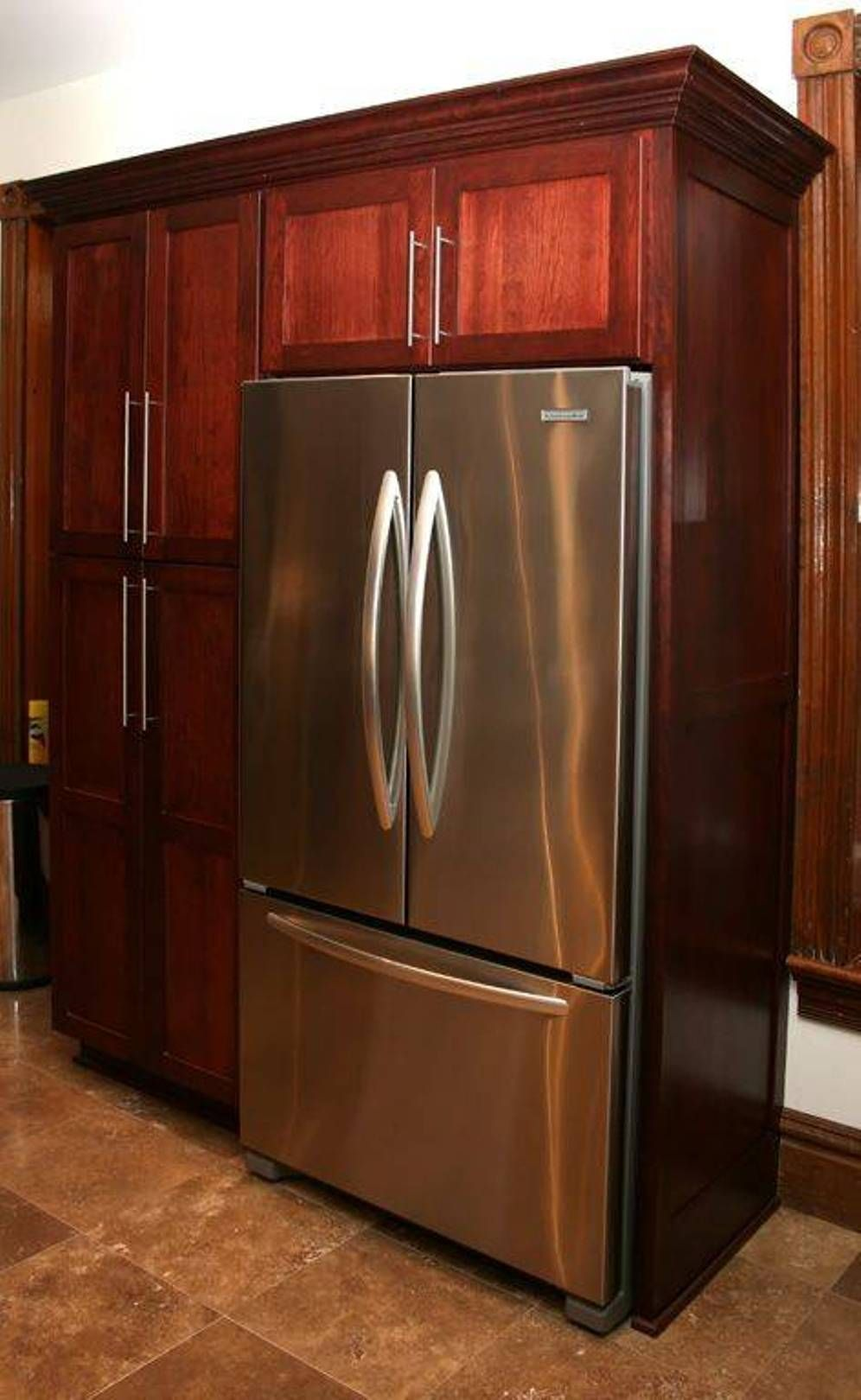 Kitchen Built In Refrigerator Cherrywood Cabinet Pantry With