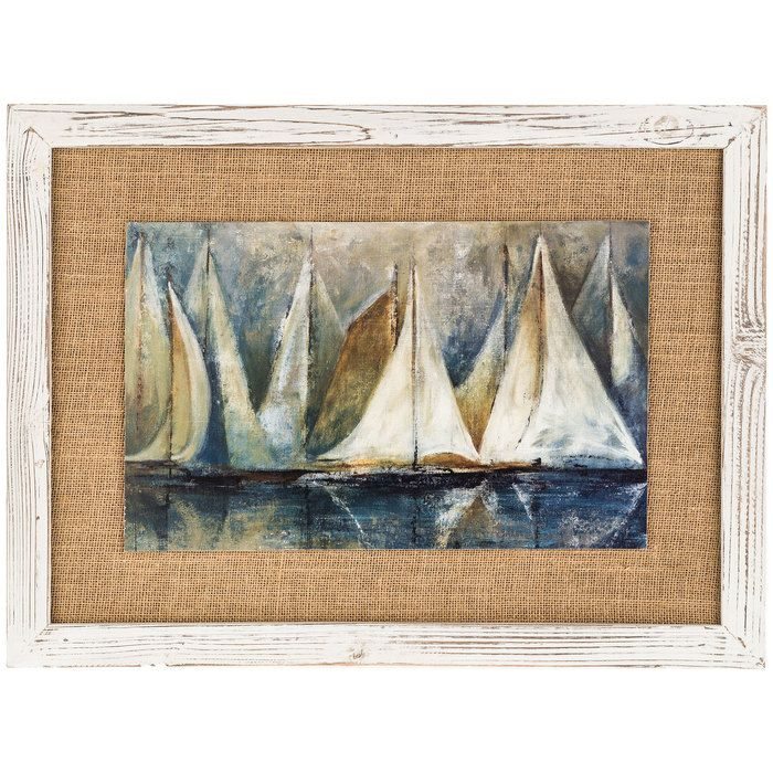 Framed Sailbot MDF & Burlap Wall Art