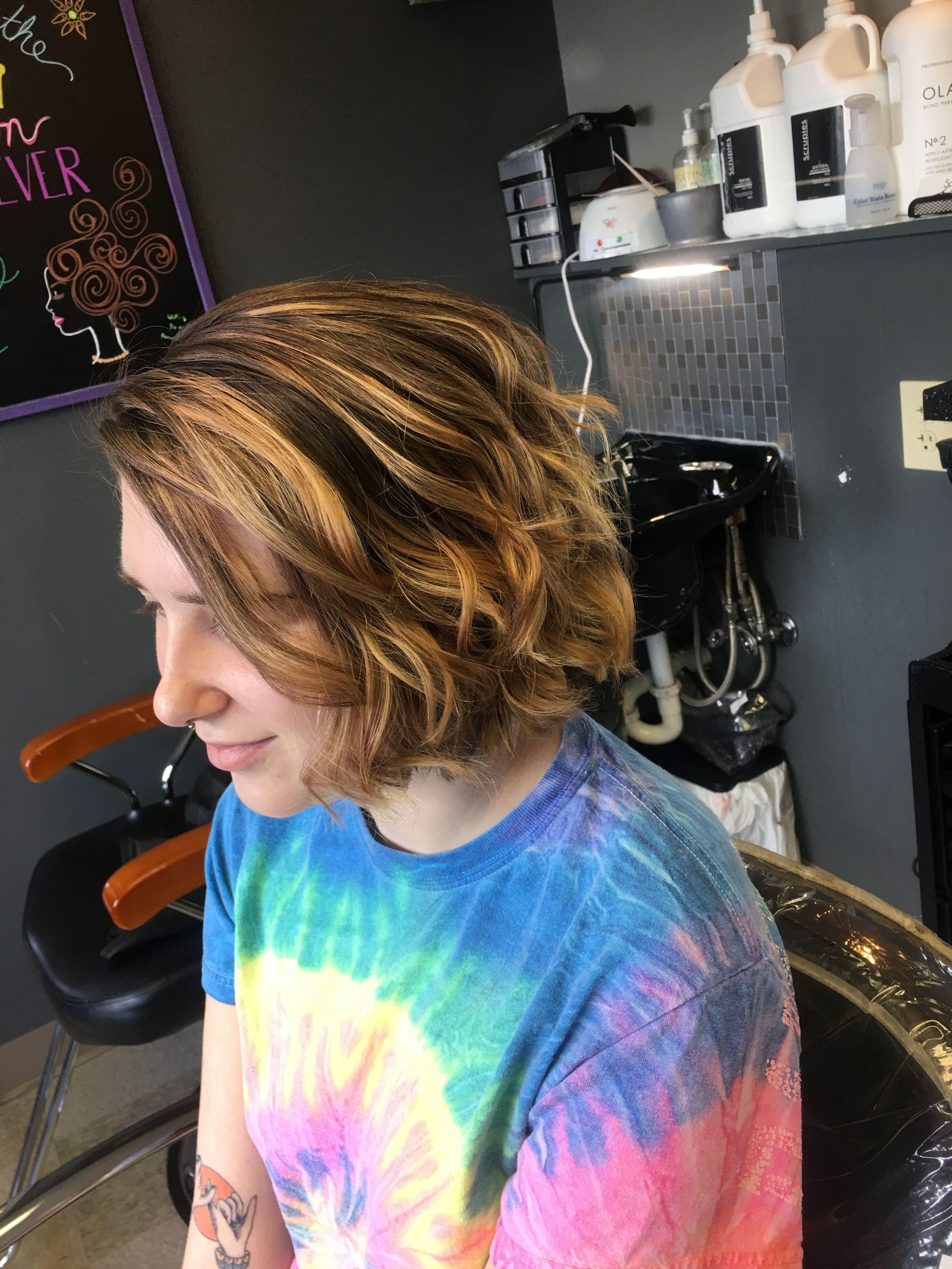 Beautiful brown into carnal Balayage bob. Above the shoulder length hair is a cute fun cut to rock!
