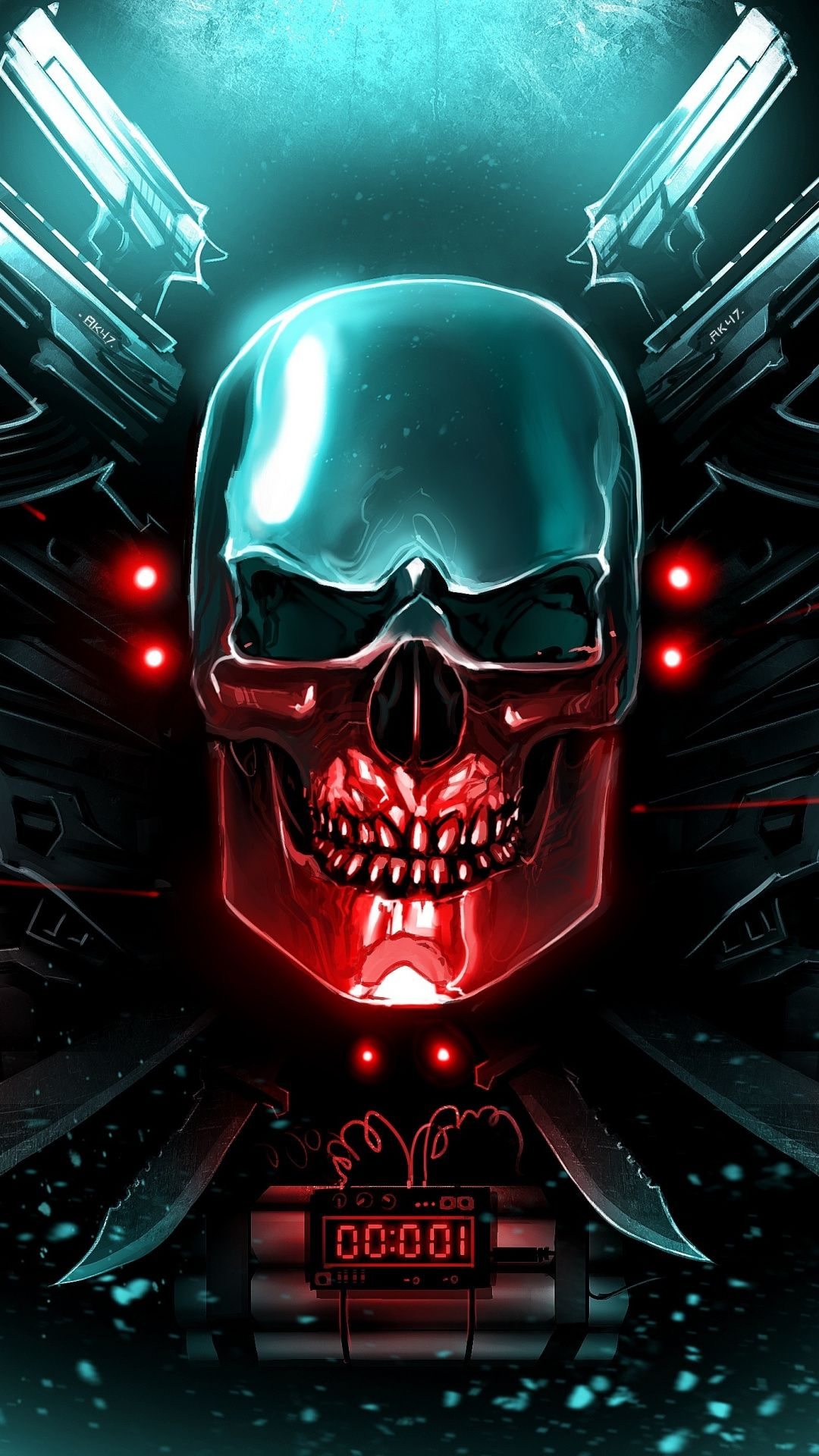 Countdown, metal skull, guns, art, 1080x1920 wallpaper