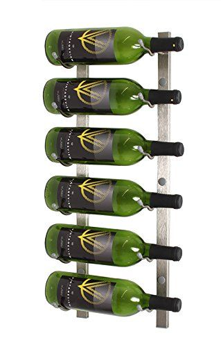 Vintageview Ws21 2 Foot 6 Bottle Wall Mounted Wine Rack In Brushed