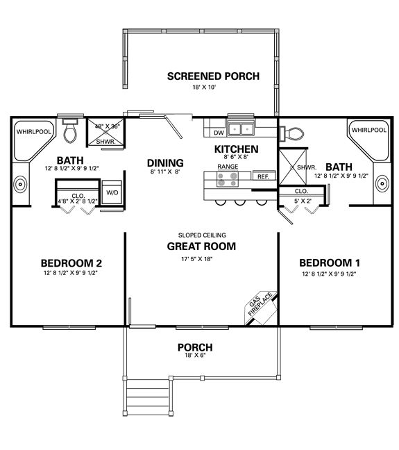 Perfect plan for me. Just add porch. | Home - Floor Plans ...
