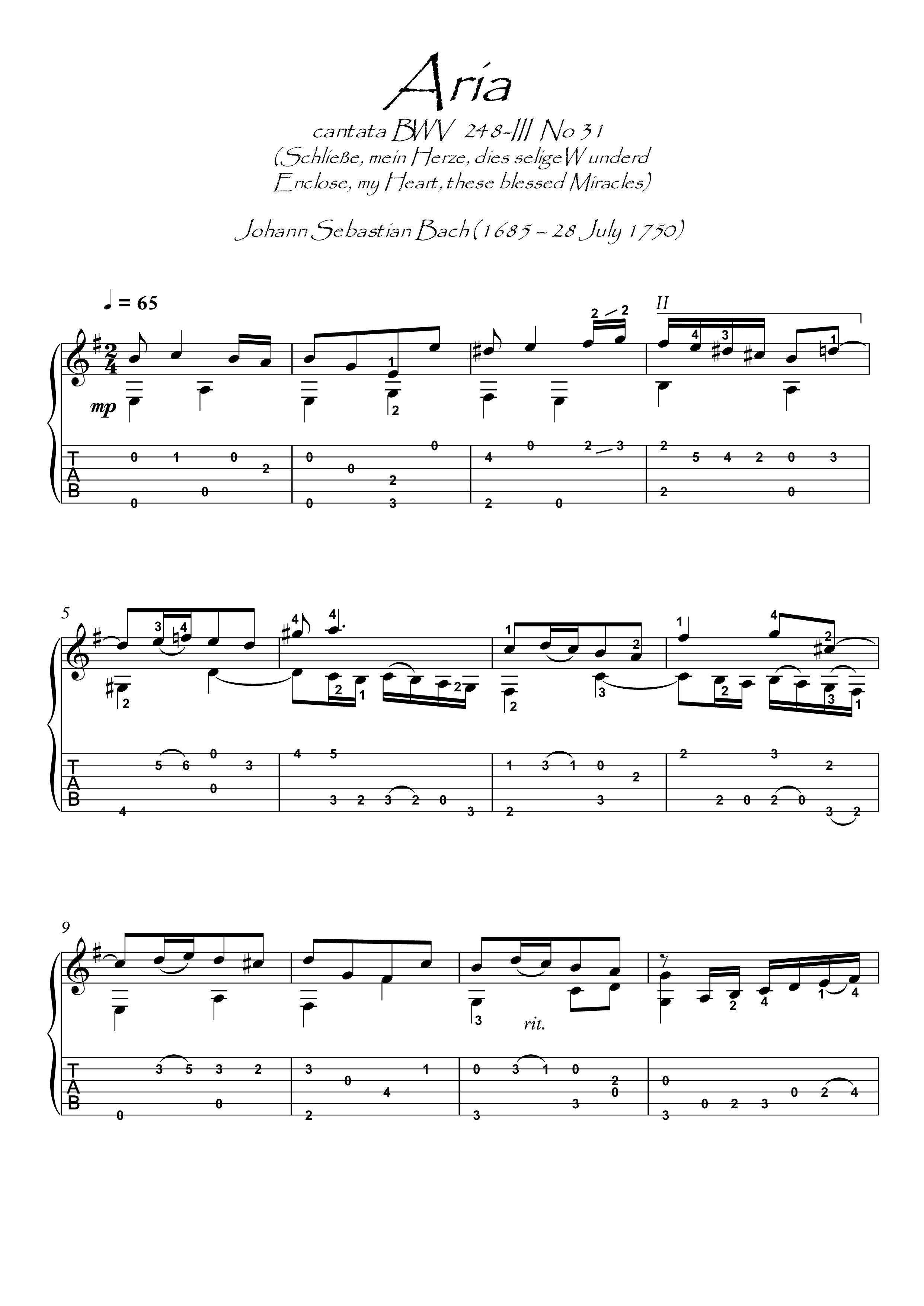 Pin on Bach guitar sheet music downloads