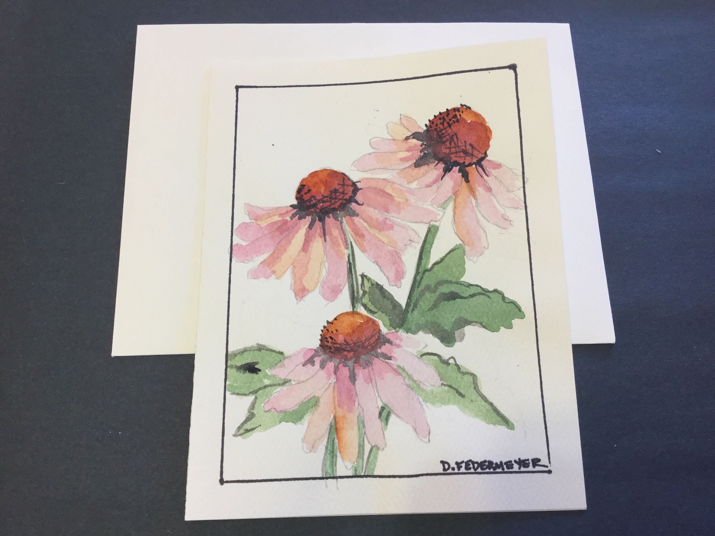 Hand Painted Original Watercolor Greeting Cards Blank Inside