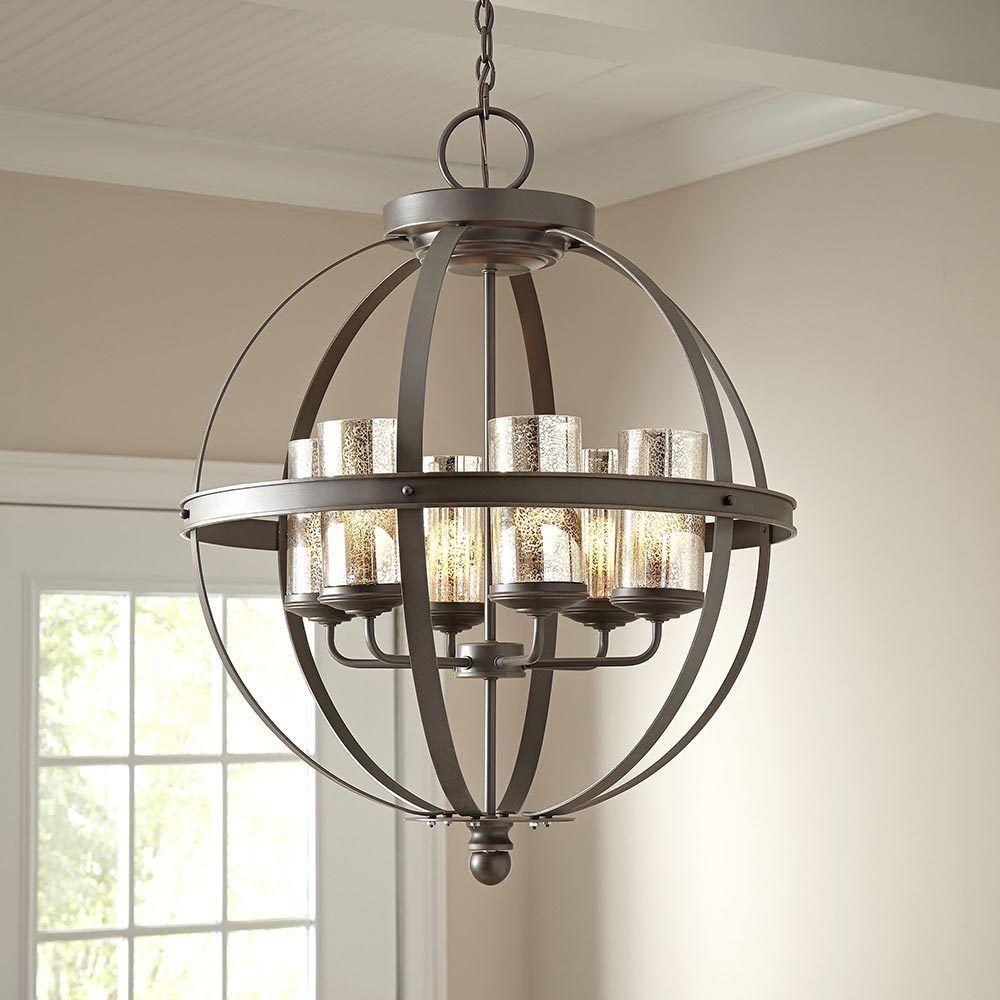Modern 6 Light Globe Chandelier Orb Pendant Lighting Glass Shades Sphere Lamp