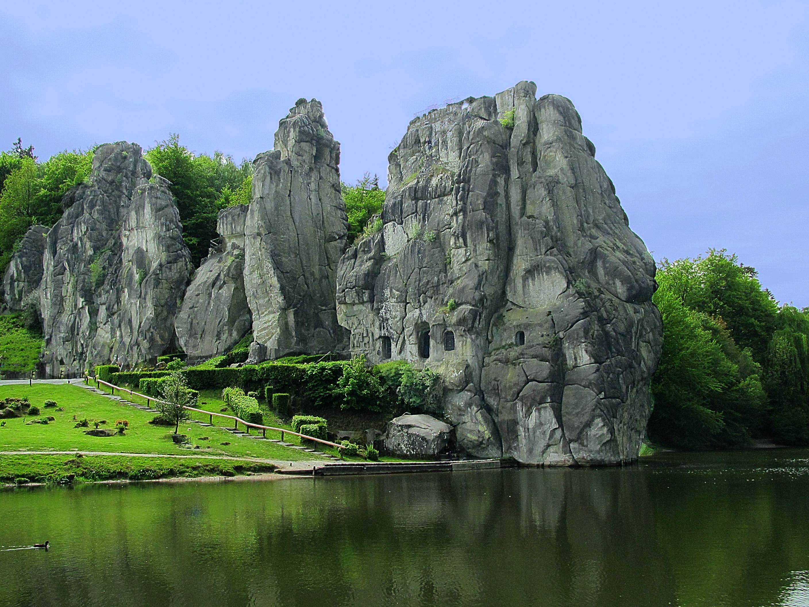 The Externsteine In Ostwestfalen Lippe Germany Not Far From The City Of Detmold At Horn Bad Meinberg Detmold
