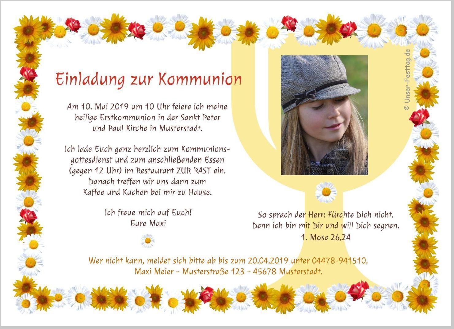 Einladungen Kommunion Blumenmeer Einladung Kommunion Einladungen Kommunion