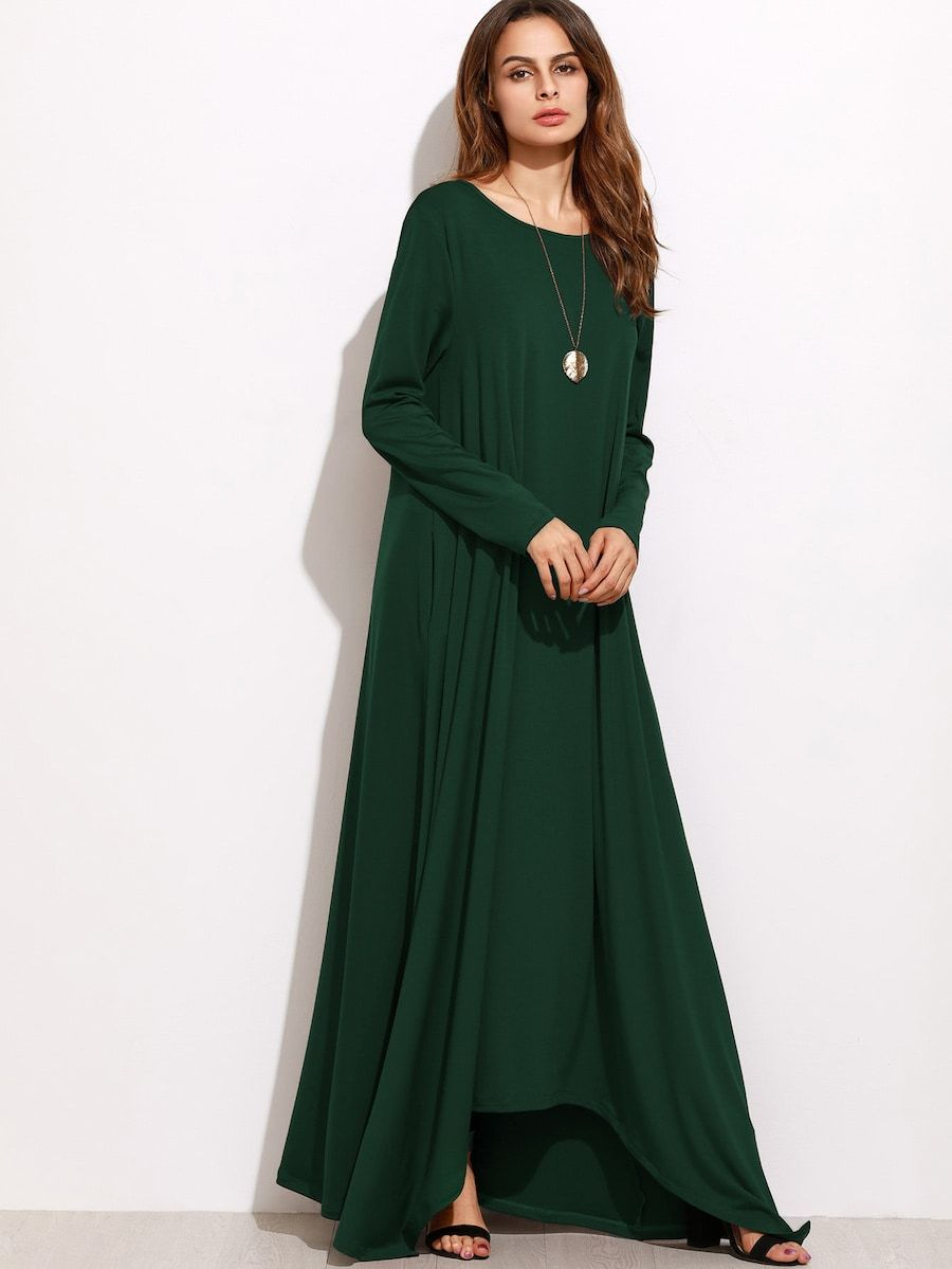 5e0ff25c31be Shift Full Length Dress -SheIn(Sheinside) | چپن دراز in 2019 ...