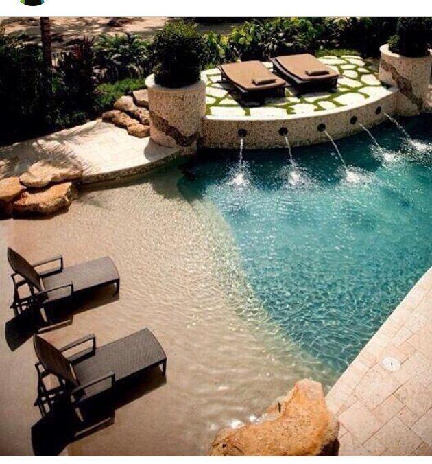 Idea para piscina tipo playa home style pinterest - Piscinas tipo playa ...
