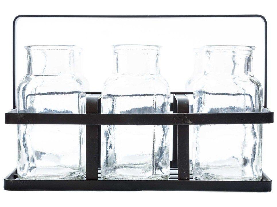 Black Metal Rack with 6-Glass Milk Bottles