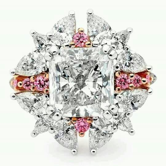 Linneys Argyle Pink Diamond Ring In White And Rose Gold With White