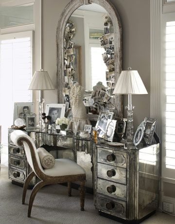 You Could So Replicate This With A Of Nightstands Gl Table Top And An Arched Mirror