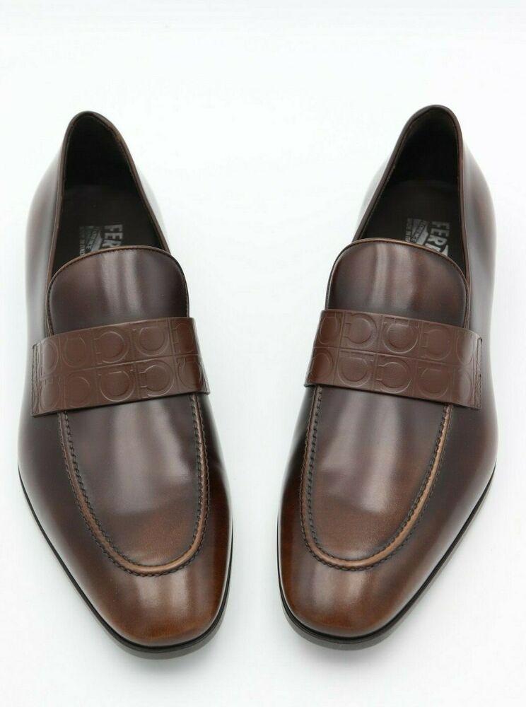 5f8c5ed03eb0b NIB Salvatore Ferragamo Columbus Gancini Stamped Brown Leather Loafers 10.5  $595 #SalvatoreFerragamo #LoafersSlipOns