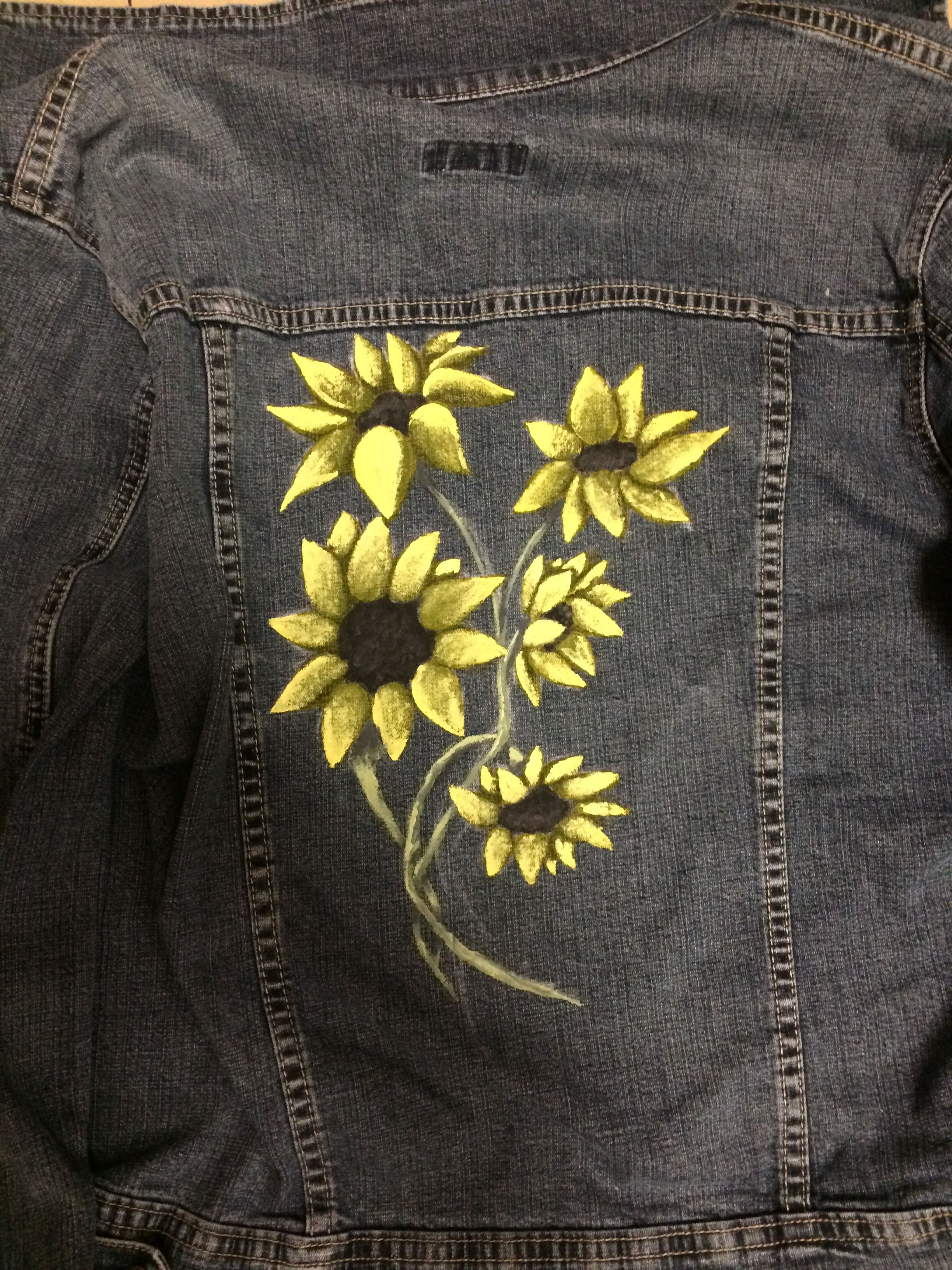 A Painted Picture Of Sunflowers On A Jean Jacket Diy Jeanjacket Denimjacket Sunflowers Paint Jean Jacket Design Custom Jean Jacket Painted Jacket [ 3264 x 2448 Pixel ]