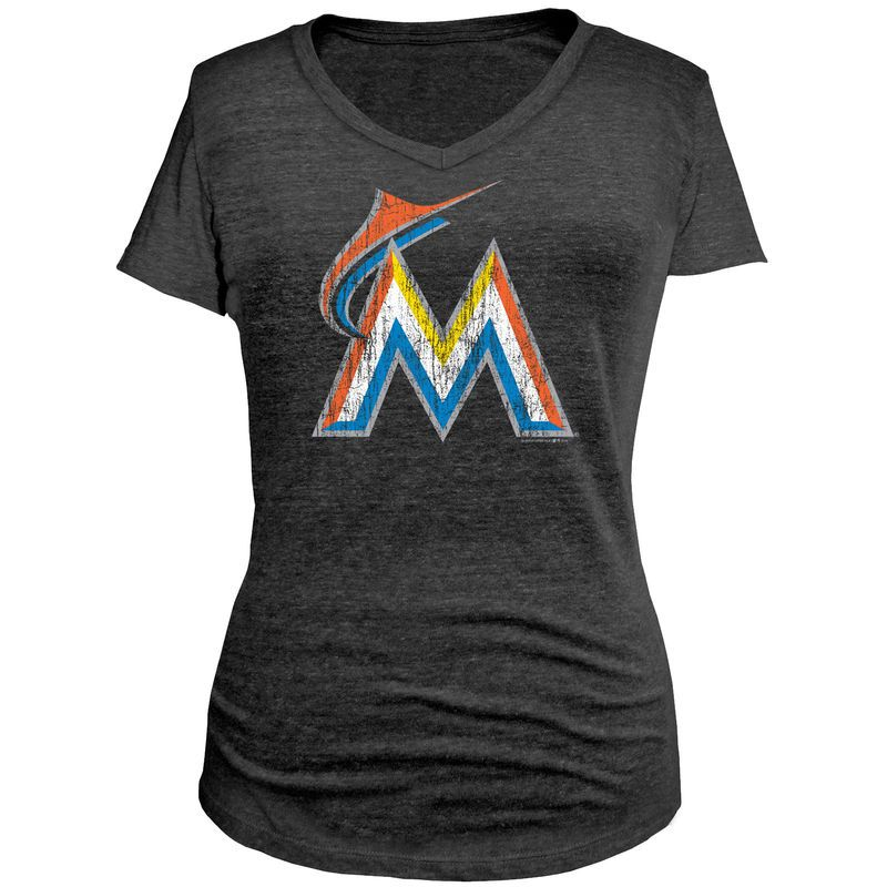 Miami Marlins 5th & Ocean by New Era Women's V-Neck Slim Fit T-Shirt - Charcoal