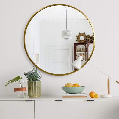 Neutype 32 Inches Large Modern And Contemporary Gold Aluminum Alloy Metal Framed Round Bathroom Vanity Wal In 2020 Gold Frame Wall Framed Mirror Wall Round Gold Mirror