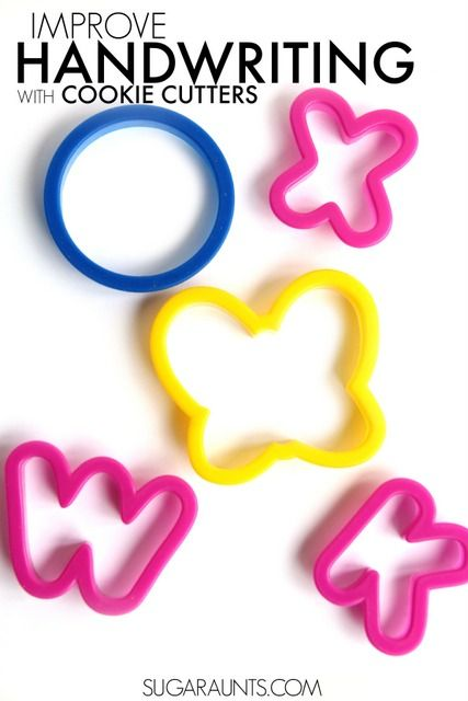 Work on handwriting with kids using something as simple as cookie cutters to improve fine motor skills, visual motor skills, tripod grasp, letter formation, pencil control, and bilateral hand coordination.