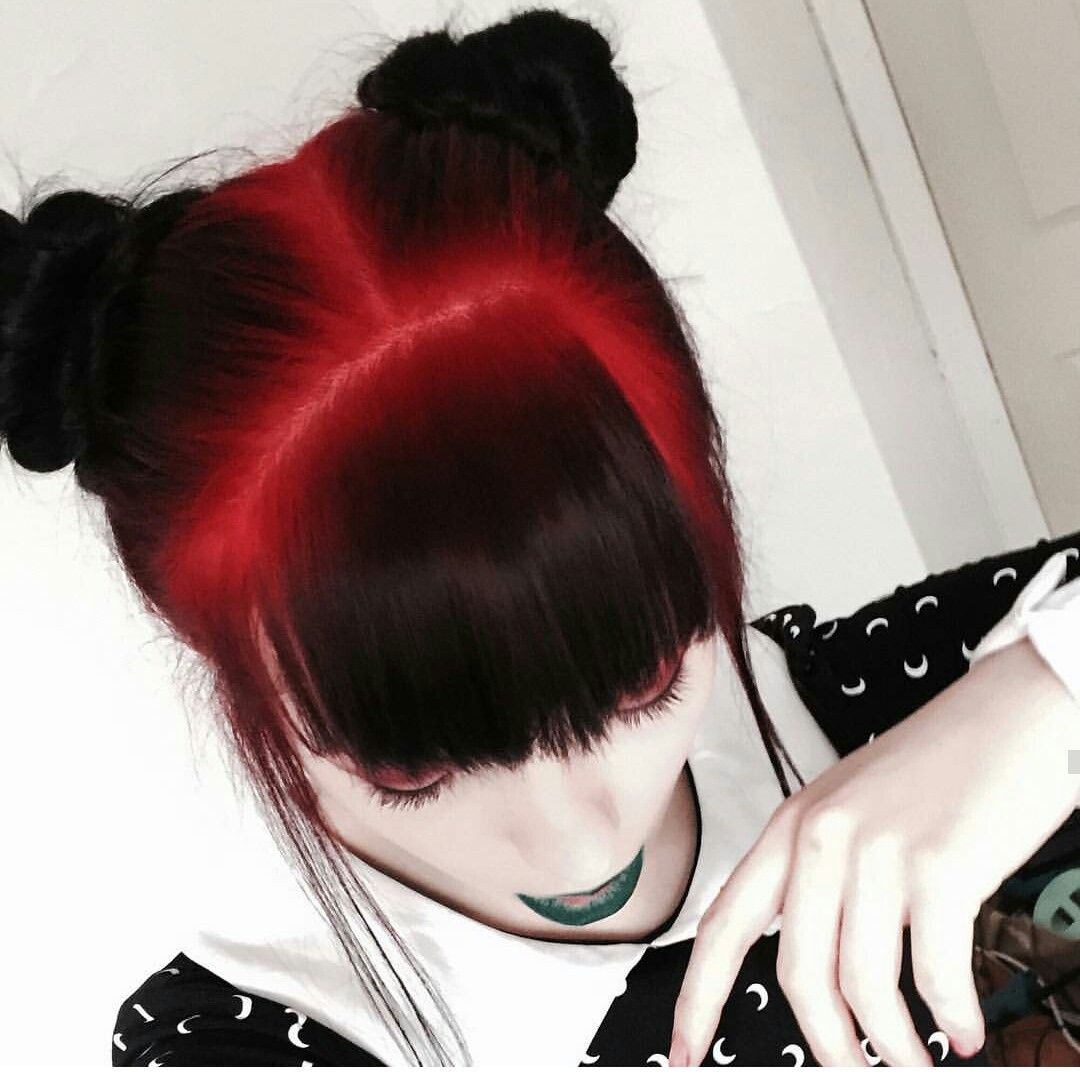 Red and black kawaii gothica pinterest hair coloring hair