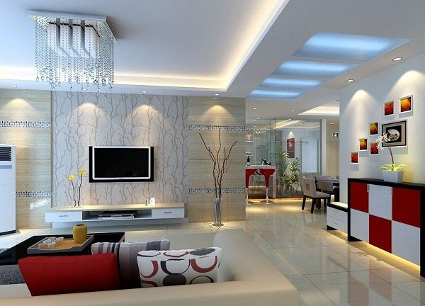 pop false ceiling designs for modern living room with tv - Living Room Pop Ceiling Designs